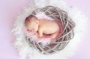 baby schläft im nest